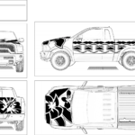 Black on White Leis and Hibiscus Truck Design #2