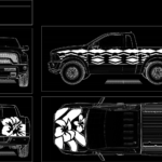 White on Black Leis and Hibiscus Truck Design #2